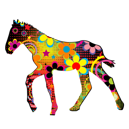 foal: Foal silhouette with multicolored flowers, circles and dots pattern