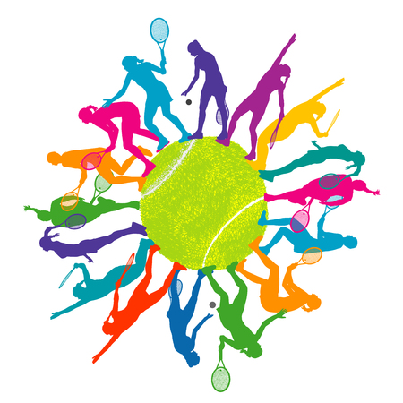 テニス女性シルエットとカラフルなテニス コンセプト  イラスト・ベクター素材