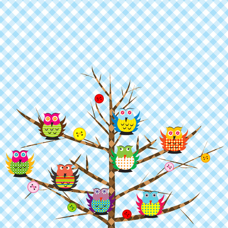 Patchwork with cartoon owls on tree