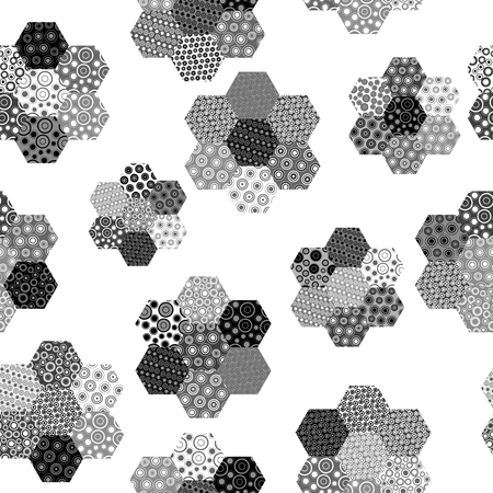 六角形のパターン形状と黒と白の背景  イラスト・ベクター素材