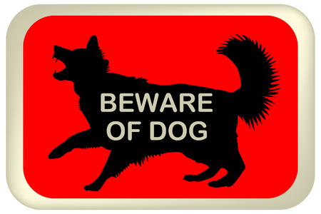 beware: BEWARE OF DOG sign with dog silhouette Vector illustration. Illustration