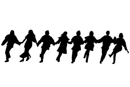 民俗ダンスを実行するダンサーのシルエット
