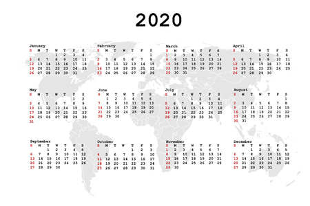 2020 Calendar for agenda with world map.