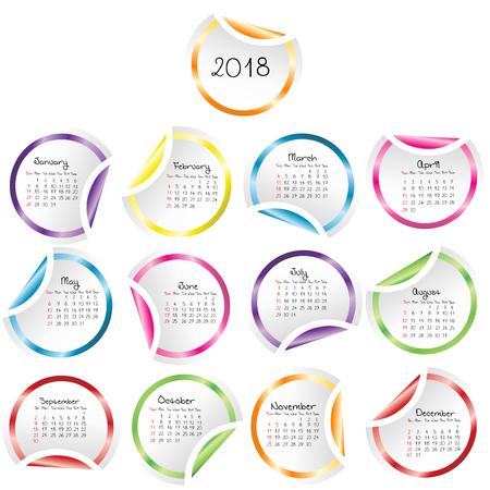 2018 Kalender met ronde glanzende stickers Stock Illustratie