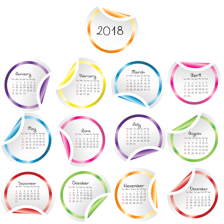 2018 Calendar with round glossy stickers