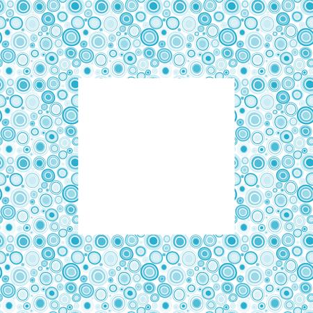 Blue frame with doodle circles Çizim