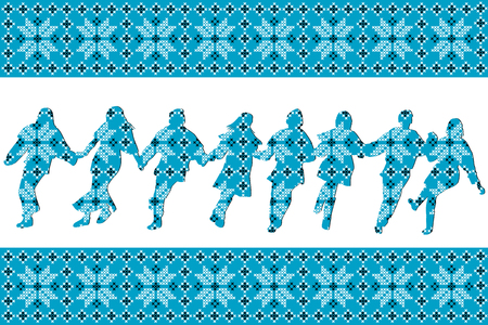 Blue ethnic motifs background with traditional dancers silhouettes, vector illustration. Çizim