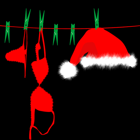 Hanging red underwear and Santa Claus hat on clothesline