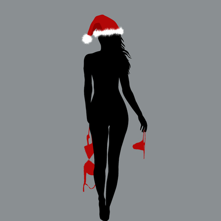 Naked Santa woman silhouette holding her lingerie in her hands