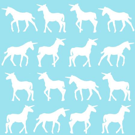 Unicorn silhouettes over blue background Ilustração