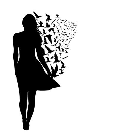 여자와 새 실루엣, 자유의 추상적 인 개념 스톡 콘텐츠 - 90095315