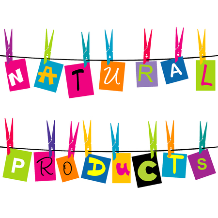 Natural products message with colored pieces of paper hanging on a rope