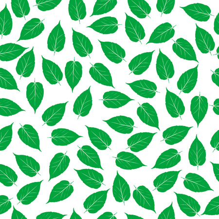 Green leaves on white background, seamless pattern 일러스트