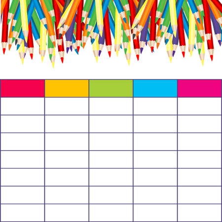School timetable with multicolored pencils
