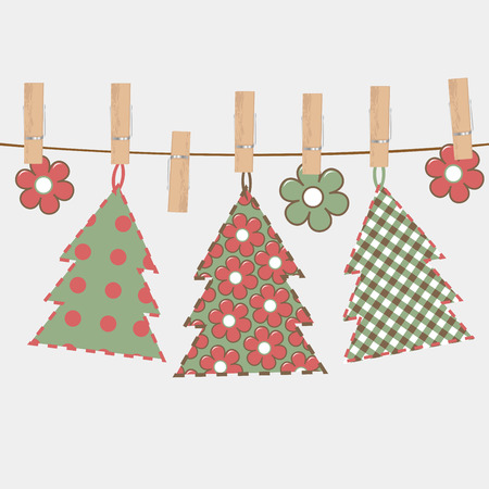 Christmas greeting card with Christmas tree hanging on a rope