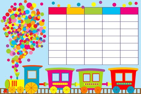 School timetable with cartoon train  イラスト・ベクター素材