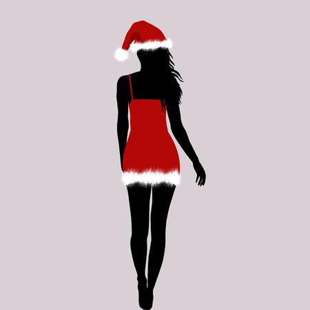 Santa woman silhouette