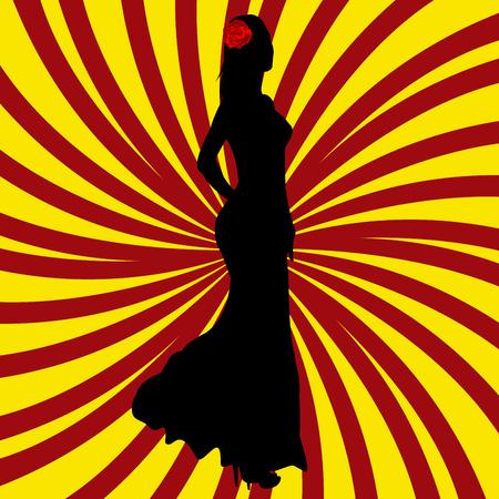 Spanish girl silhouette over Spanish flag background illustration.