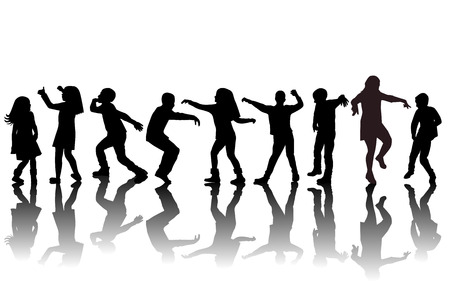 Group of children silhouettes dancing illustration.