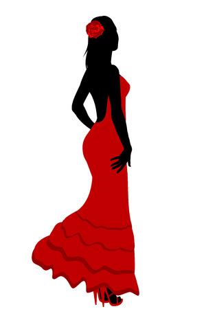 Spanish girl in flamenco red dress illustration.