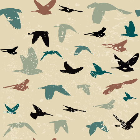 Vintage grunge background with silhouettes of birds Illustration