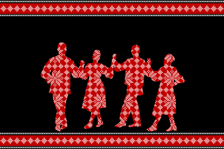 Traditional festival poster with folk dancers silhouettes