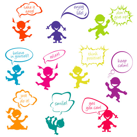 Kids with chat bubbles with positive slogans