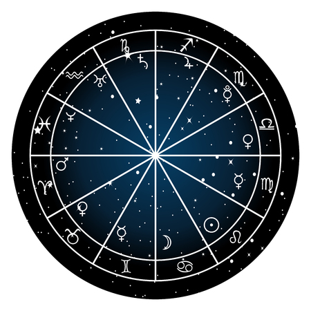 Astrology zodiac with natal chart, zodiac signs and planets Ilustração
