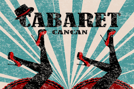 Cabaret poster with women legs in red shoes Stok Fotoğraf - 94810975