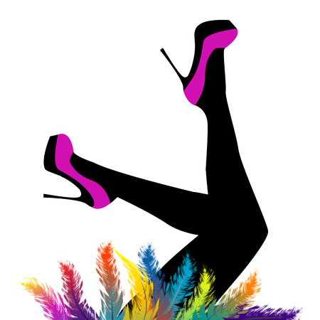 Female legs with feet in the air wearing purple high heels shoes and colored feathers Standard-Bild