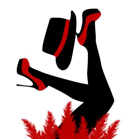 Mooie cabaretdanseres met rode schoenen en hoed Vector Illustratie