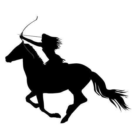 弓と矢で馬に乗っているアマゾンの戦士の女性の黒いシルエット