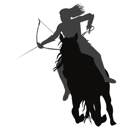 Wild amazon girl with a bow on horseback