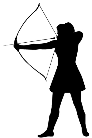 Silhouette of a woman with a bow on a white background