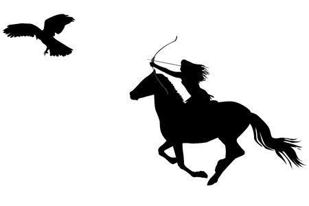 Silhouette of an amazon warrior woman riding a horse with bow and arrow