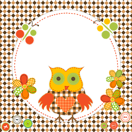 Round frame with cartoon owl in patchwork style