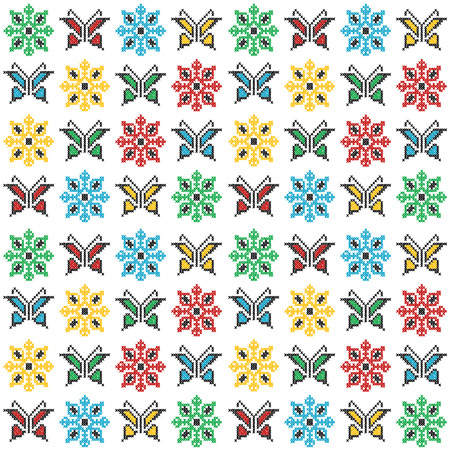 Colorful traditional embroidery with butterflies and flowers Stock Illustratie