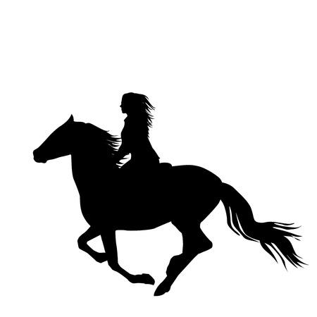 Siluetta nera di un cavaliere della donna un cavallo corrente