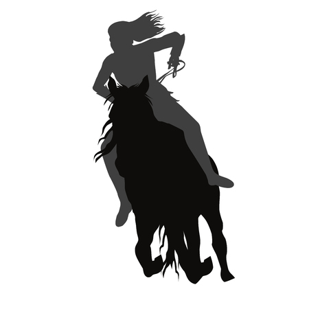 Riding a running horse silhoutte