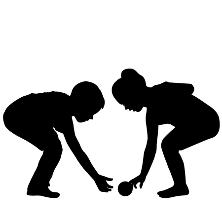 Illustration of two children bending to raise a ball