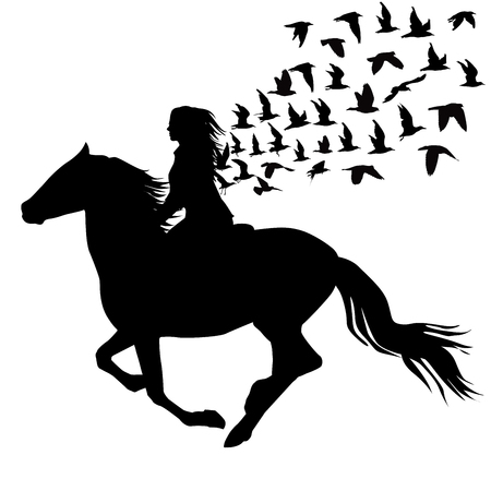 Abstract illustration of woman riding a horse and birds silhouettes flying 일러스트