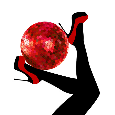 Woman legs with red shoes holding a disco ball