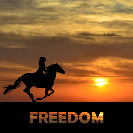 Freedom abstract concept with woman riding a horse 스톡 콘텐츠