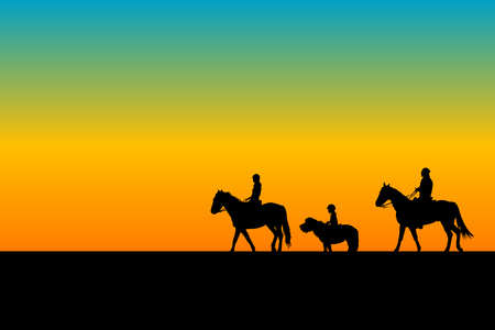 Family silhouette riding horses and ponny