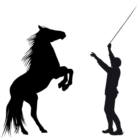 Man training horse to rear up