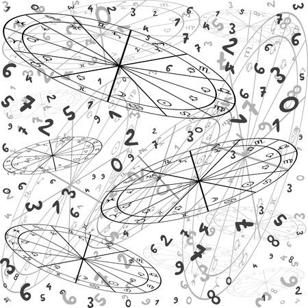 astrología y miopía concepto con signos de zodiaco y números sobre cielo estrellado Ilustración de vector