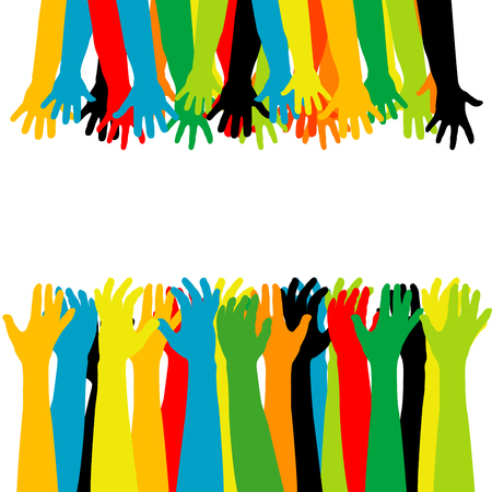 Helping hand concept. Adults care about children, arms reaching out. Vector illustration. 일러스트