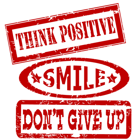 Motivation and positive thinking messages rubber stamps set Vector illustration.