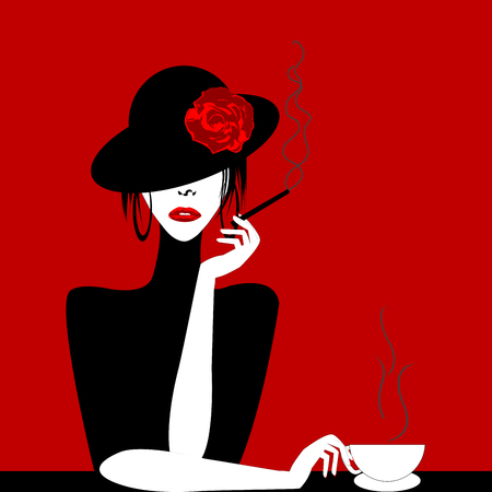 Stylized woman with cigar and cup of coffee Vector illustration. Vettoriali