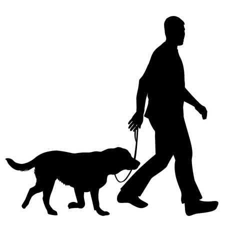 Silhouettes of man and dog Vectores
